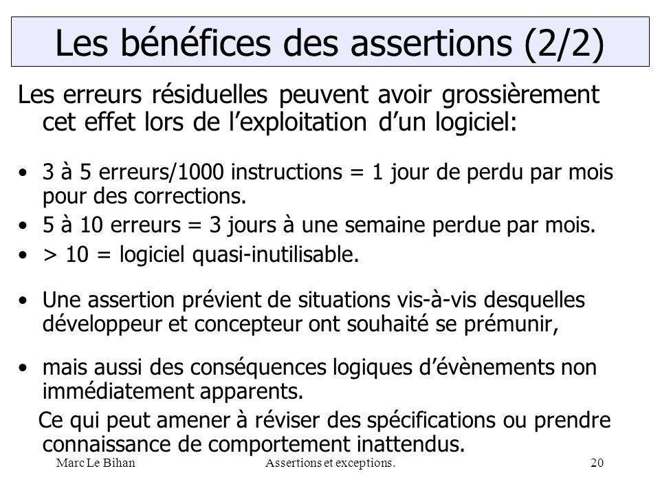 Marc Le BihanAssertions et exceptions.20 Les erreurs résiduelles peuvent avoir grossièrement cet effet lors de l'exploitation d'un logiciel: 3 à 5 err