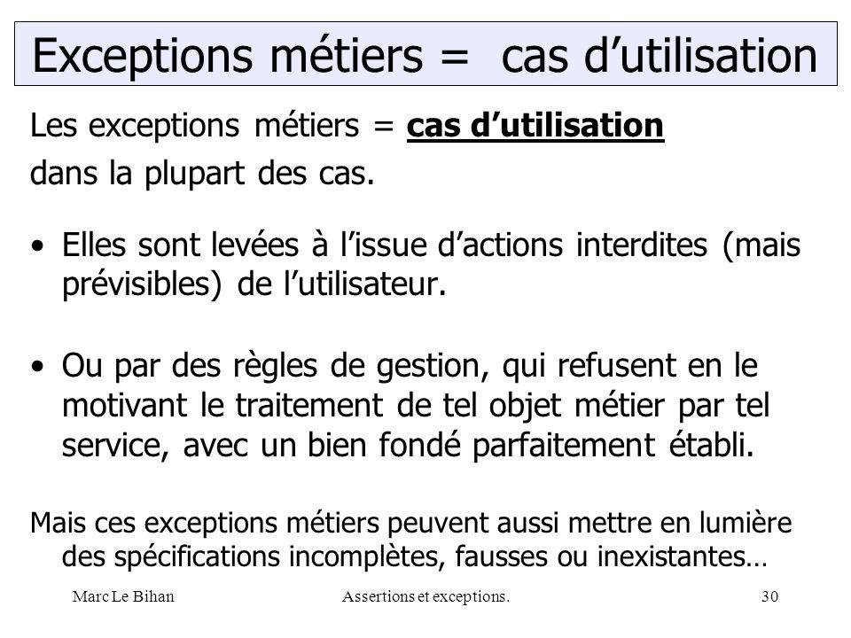 Marc Le BihanAssertions et exceptions.30 Les exceptions métiers = cas d'utilisation dans la plupart des cas. Elles sont levées à l'issue d'actions int