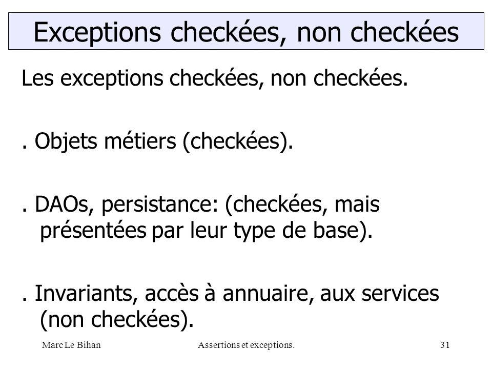 Marc Le BihanAssertions et exceptions.31 Exceptions checkées, non checkées Les exceptions checkées, non checkées.. Objets métiers (checkées).. DAOs, p