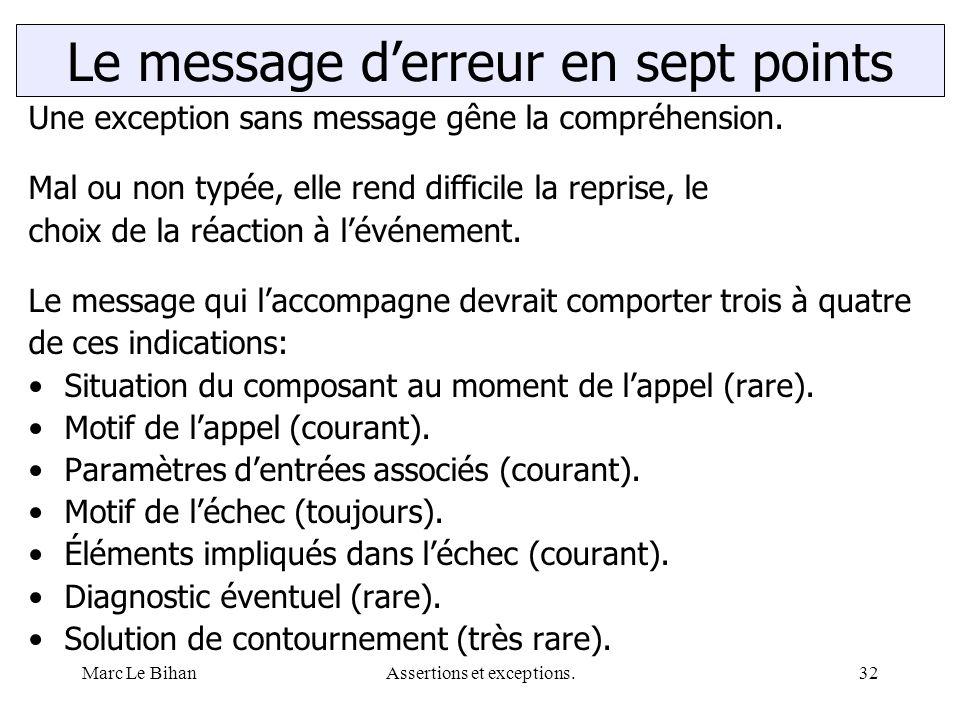 Marc Le BihanAssertions et exceptions.32 Le message d'erreur en sept points Une exception sans message gêne la compréhension. Mal ou non typée, elle r