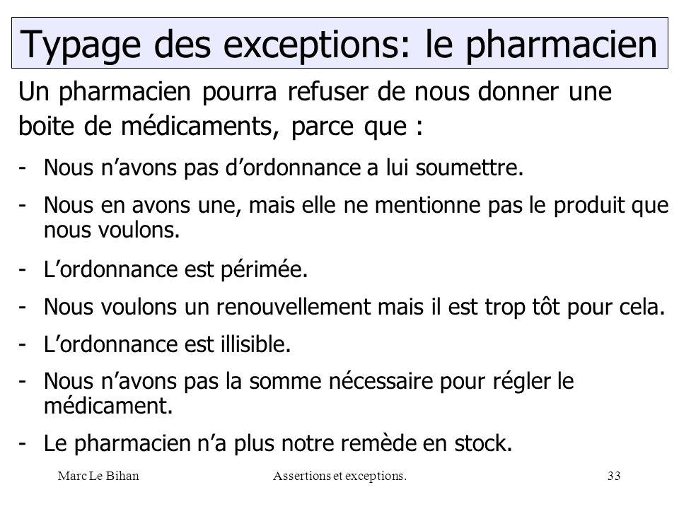 Marc Le BihanAssertions et exceptions.33 Un pharmacien pourra refuser de nous donner une boite de médicaments, parce que : -Nous n'avons pas d'ordonnance a lui soumettre.