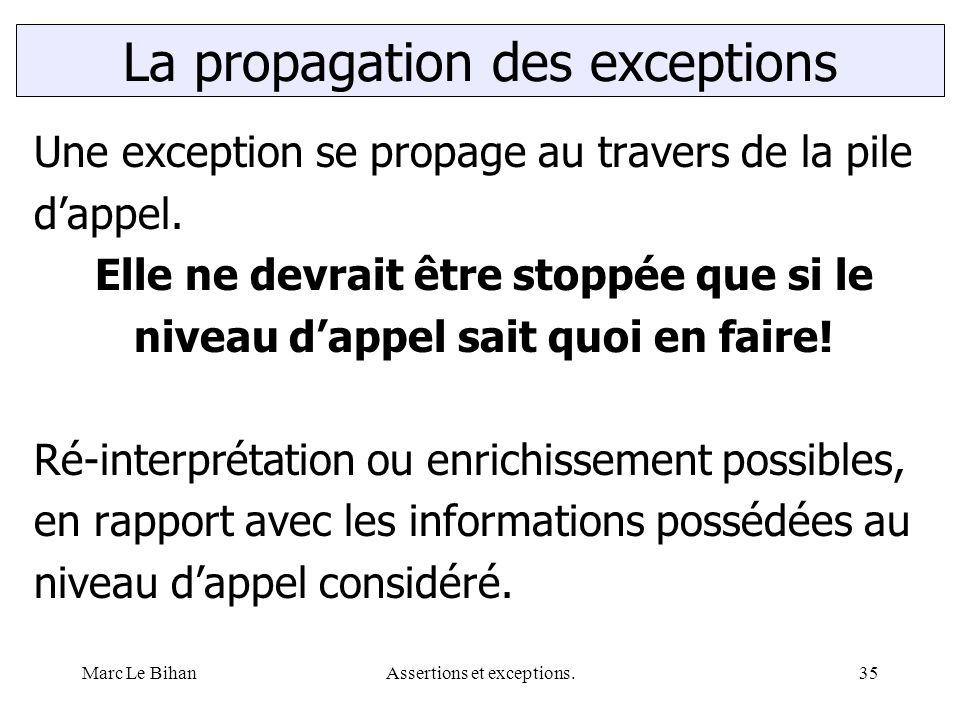 Marc Le BihanAssertions et exceptions.35 Une exception se propage au travers de la pile d'appel. Elle ne devrait être stoppée que si le niveau d'appel