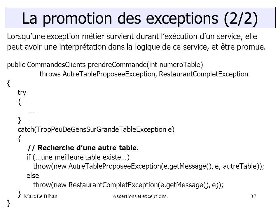Marc Le BihanAssertions et exceptions.37 Lorsqu'une exception métier survient durant l'exécution d'un service, elle peut avoir une interprétation dans la logique de ce service, et être promue.