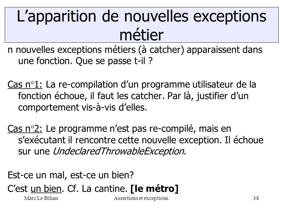 Marc Le BihanAssertions et exceptions.38 n nouvelles exceptions métiers (à catcher) apparaissent dans une fonction. Que se passe t-il ? Cas n°1: La re