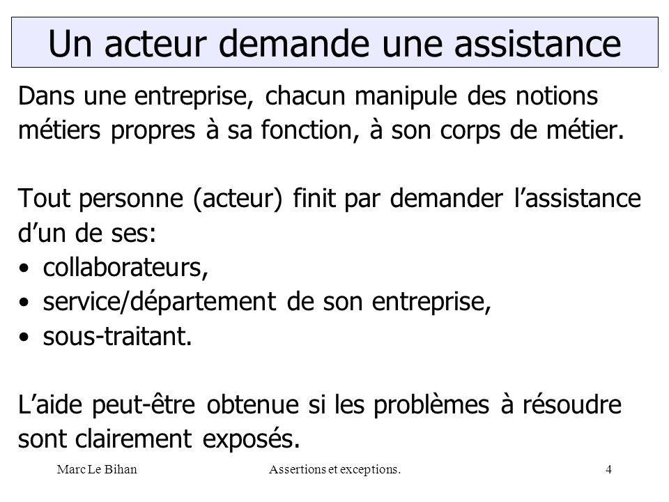 Marc Le BihanAssertions et exceptions.15 Distance entre défaut et panne Un logiciel, ne peut éviter de présenter temporairement des anomalies.