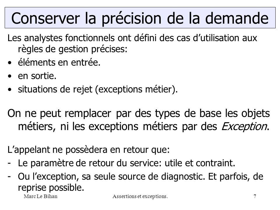 Marc Le BihanAssertions et exceptions.7 Les analystes fonctionnels ont défini des cas d'utilisation aux règles de gestion précises: éléments en entrée