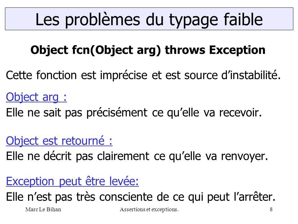 Marc Le BihanAssertions et exceptions.8 Les problèmes du typage faible Object fcn(Object arg) throws Exception Cette fonction est imprécise et est source d'instabilité.