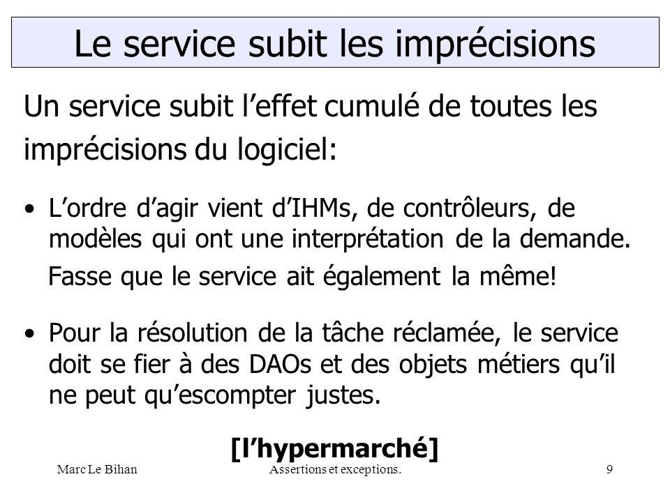 Marc Le BihanAssertions et exceptions.9 Un service subit l'effet cumulé de toutes les imprécisions du logiciel: L'ordre d'agir vient d'IHMs, de contrôleurs, de modèles qui ont une interprétation de la demande.