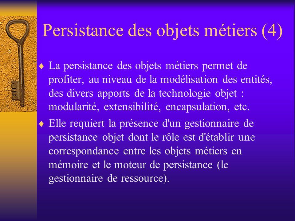 Persistance des objets métiers (3)  L approche par objet métier - définir une représentation objet des données du système.