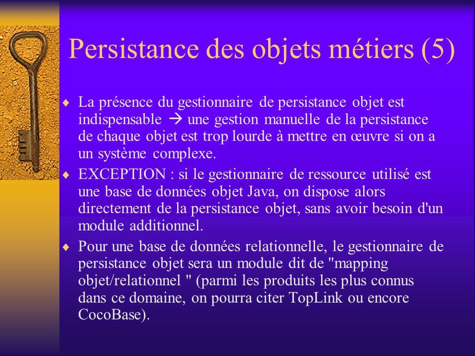 Persistance des objets métiers (4)  La persistance des objets métiers permet de profiter, au niveau de la modélisation des entités, des divers apports de la technologie objet : modularité, extensibilité, encapsulation, etc.