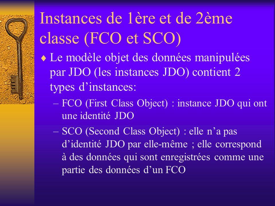 CLASSES CAPABLES DE PERSISTANCE  Une classe persistante peut avoir des instances persistances et non persistantes.