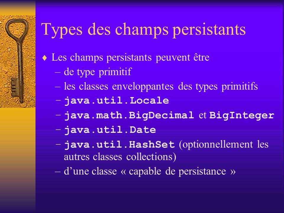 Instances de 1ère et de 2ème classe (FCO et SCO)  Le modèle objet des données manipulées par JDO (les instances JDO) contient 2 types d'instances: –FCO (First Class Object) : instance JDO qui ont une identité JDO –SCO (Second Class Object) : elle n'a pas d'identité JDO par elle-même ; elle correspond à des données qui sont enregistrées comme une partie des données d'un FCO