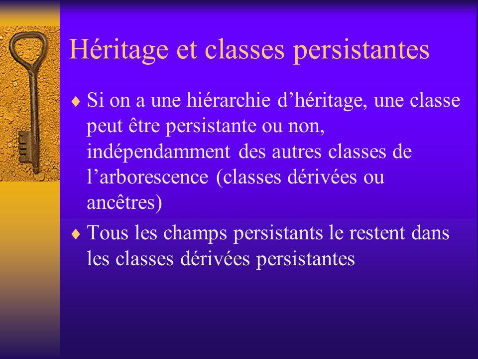 Types des champs persistants  Les champs persistants peuvent être –de type primitif –les classes enveloppantes des types primitifs –java.util.Locale –java.math.BigDecimal et BigInteger –java.util.Date –java.util.HashSet (optionnellement les autres classes collections) –d'une classe « capable de persistance »