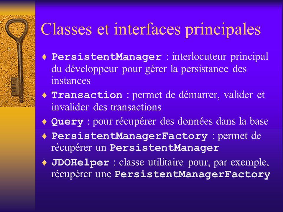 Paquetages de JDO  L'API est composée de 2 paquetages : –javax.jdo : les classes et interfaces utilisées par les développeurs –javax.jdo.spi : les classes et interfaces utilisées par JDO pour son fonctionnement interne