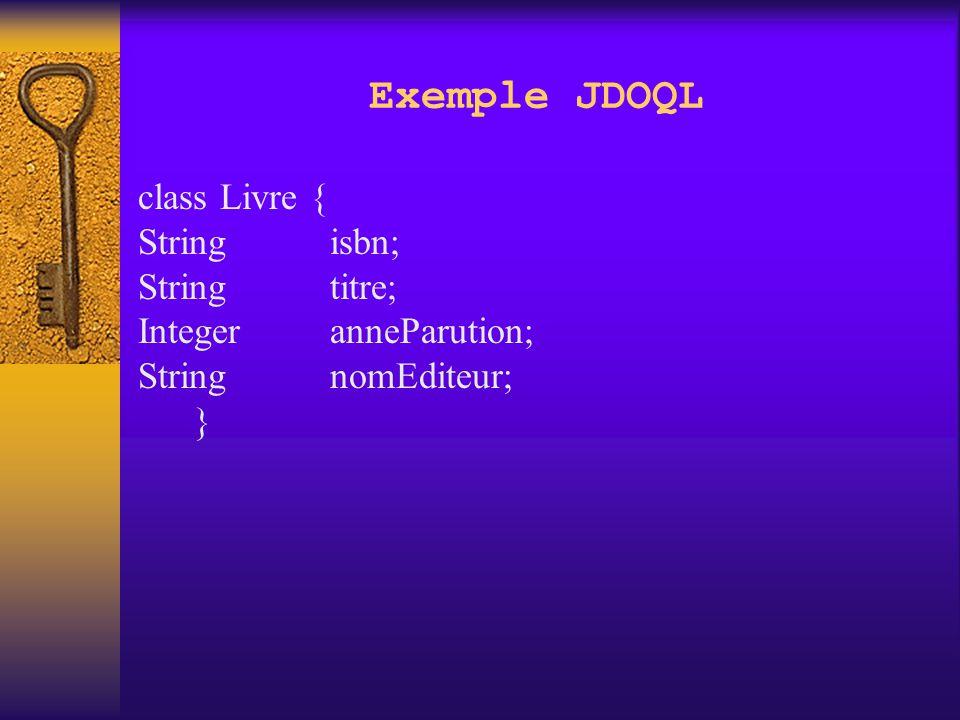 JDOQL PersistenceManager est l'usine à requêtes Les requêtes interrogent des collections et retournent des collections Élements requis dans une requête: Une collection d'instances candidates Ça peut être un extent Ça peut être une Collection dans JVM Filtre (expression booléenne Java)