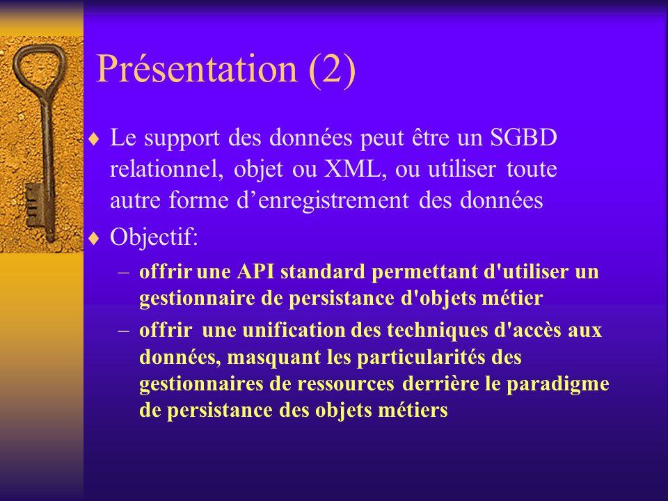 Présentation (1)  JDO (Java Data Object) – nouvelle technologie de SUN, proposée en Juillet 2000  JDO offre une approche orientée objet et standardisée pour la persistance des objets Java  Au contraire de JDBC, orienté base de données relationnelle, JDO cache les difficultés liées aux différences entre le monde objet et le monde relationnel