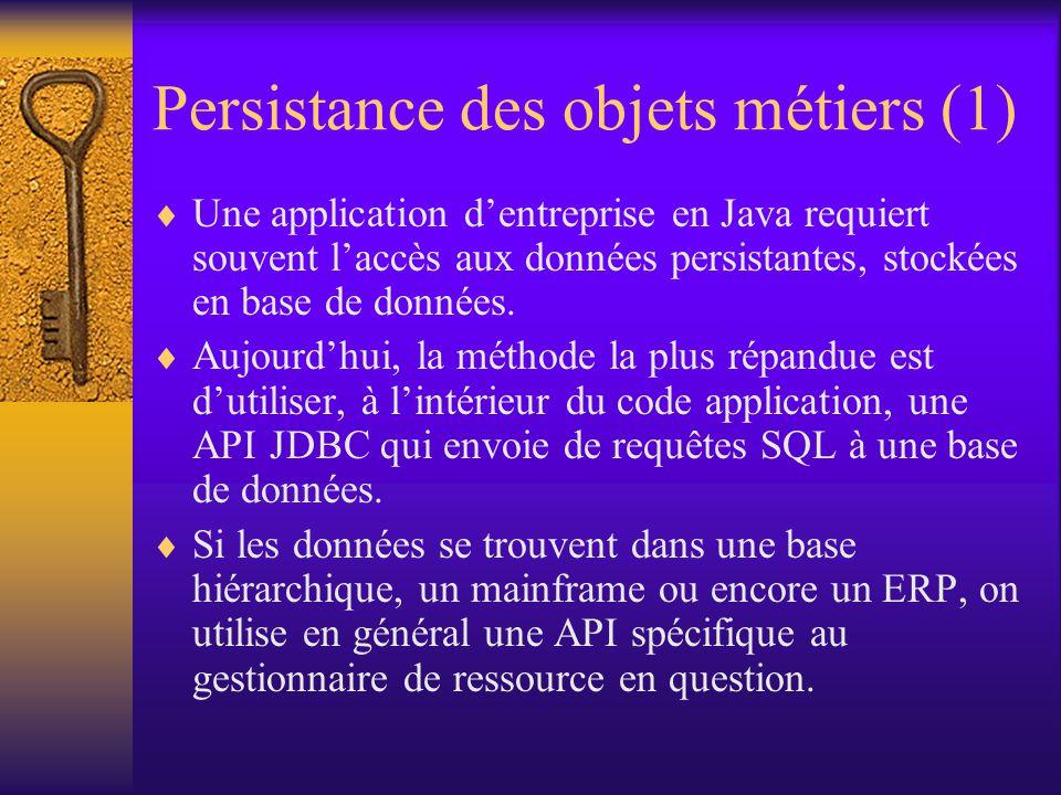 Architecture JDO (2)  Une « base de données » dans laquelle sont enregistrés les objets persistants  2 types d'objets : –persistants (correspondent à des données de la base) –éphémères (transients), non persistants  Un gestionnaire de persistance gère la persistance des objets persistants  Des méta-données, enregistrées dans un fichier XML, décrivent les classes des objets persistants