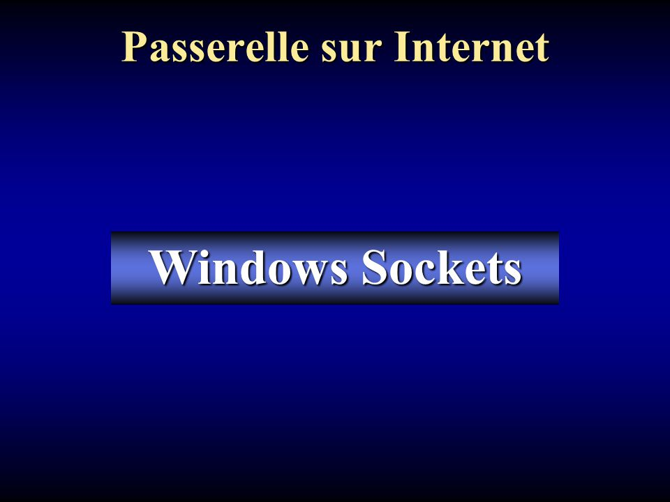Passerelle sur Internet Windows Sockets