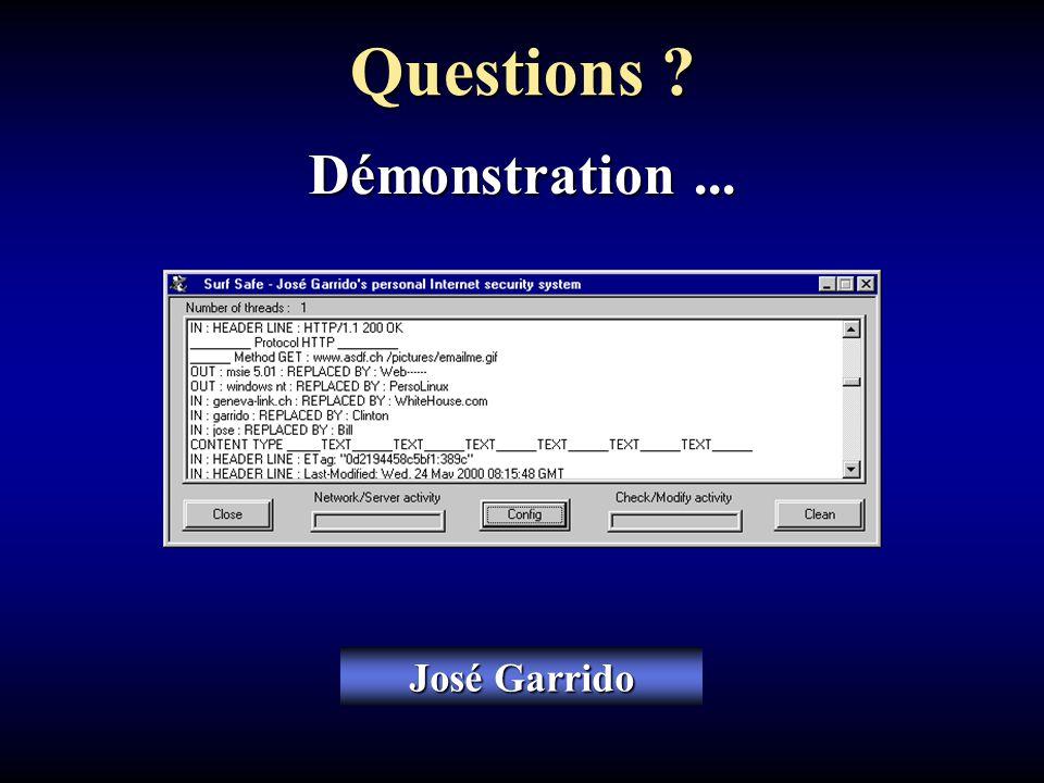 José Garrido Questions ? Démonstration...