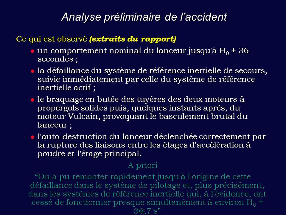 10 Analyse préliminaire de l'accident Ce qui est observé (extraits du rapport) un comportement nominal du lanceur jusqu'à H 0 + 36 secondes ; un compo