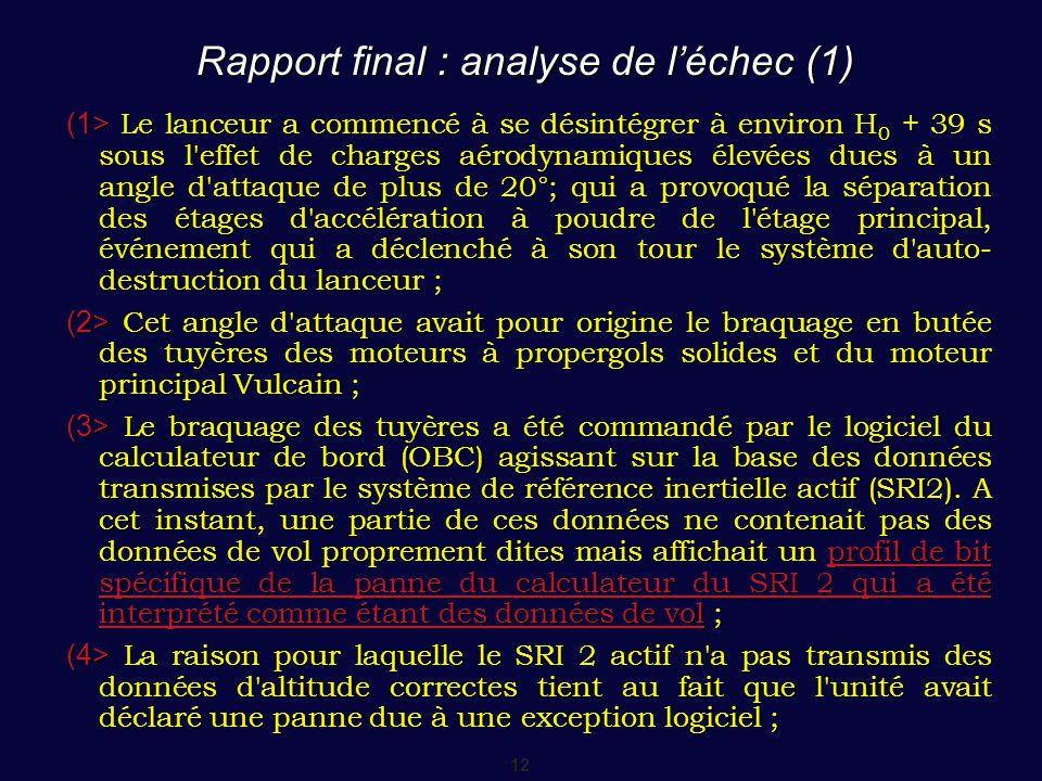 12 Rapport final : analyse de l'échec (1) (1> Le lanceur a commencé à se désintégrer à environ H 0 + 39 s sous l'effet de charges aérodynamiques élevé