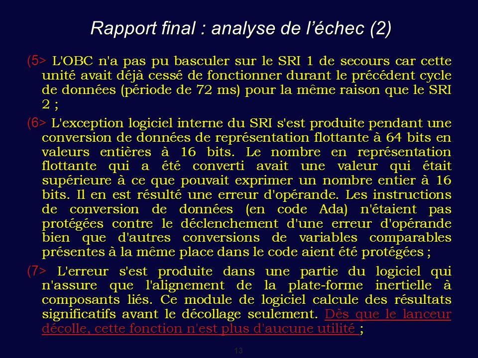 13 Rapport final : analyse de l'échec (2) (5> L'OBC n'a pas pu basculer sur le SRI 1 de secours car cette unité avait déjà cessé de fonctionner durant