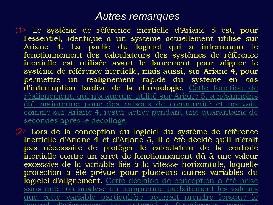 15 Autres remarques (1> Le système de référence inertielle d'Ariane 5 est, pour l'essentiel, identique à un système actuellement utilisé sur Ariane 4.