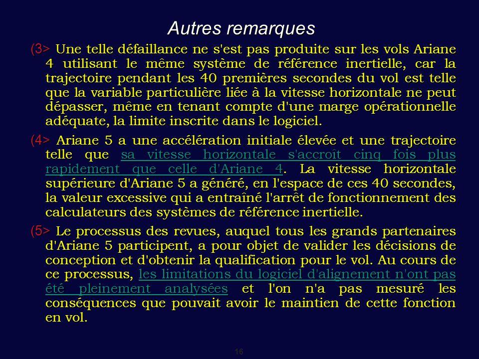 16 Autres remarques (3> Une telle défaillance ne s'est pas produite sur les vols Ariane 4 utilisant le même système de référence inertielle, car la tr