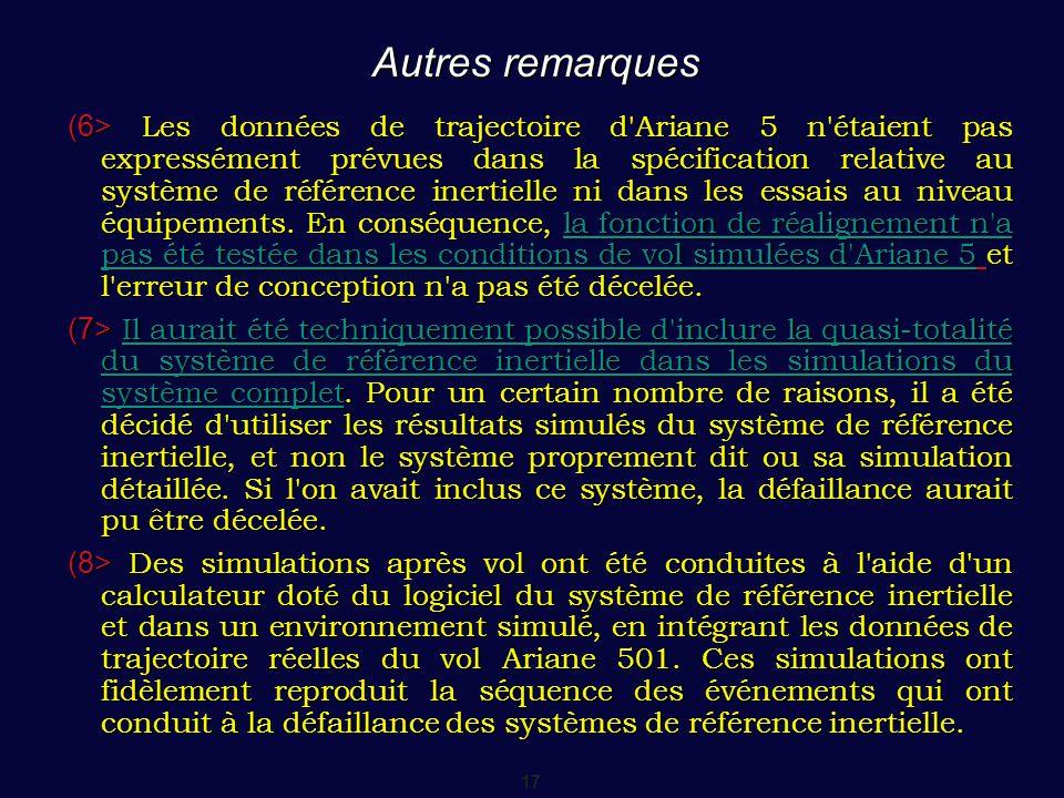 17 Autres remarques (6> Les données de trajectoire d'Ariane 5 n'étaient pas expressément prévues dans la spécification relative au système de référenc