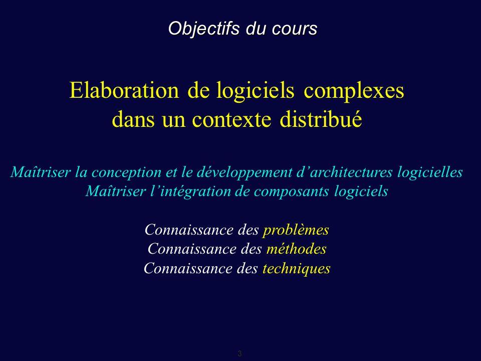 3 Objectifs du cours Elaboration de logiciels complexes dans un contexte distribué Maîtriser la conception et le développement d'architectures logicie