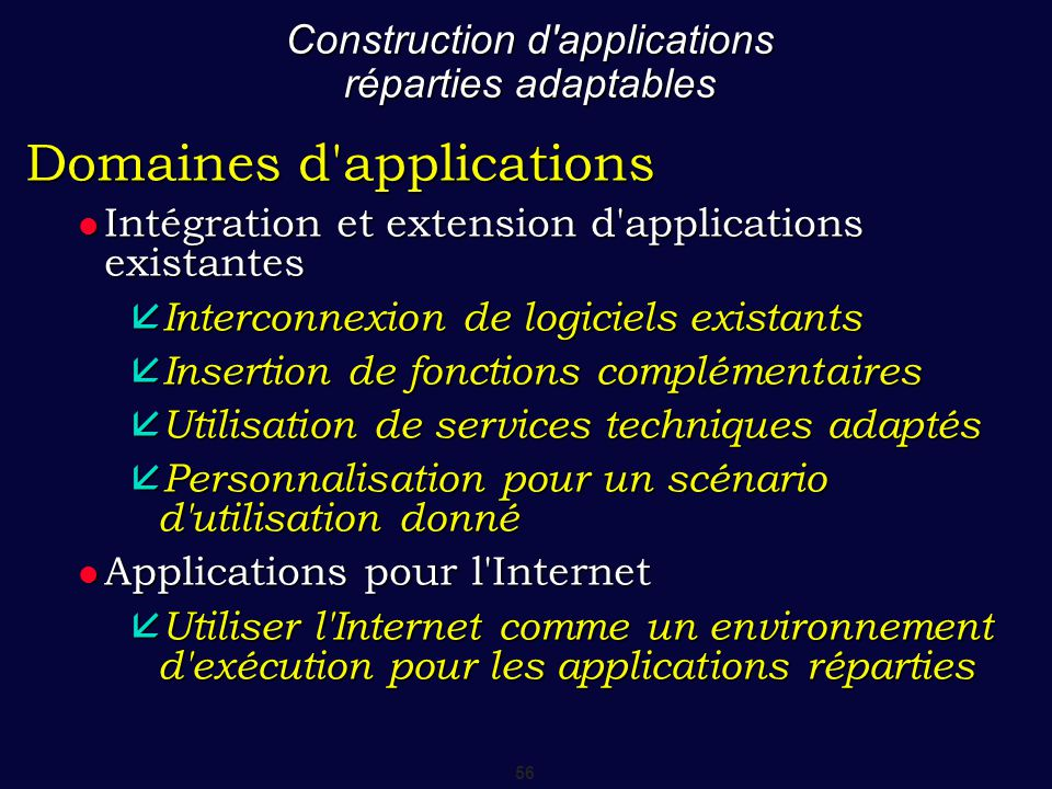 56 Construction d'applications réparties adaptables Domaines d'applications Intégration et extension d'applications existantes Intégration et extensio
