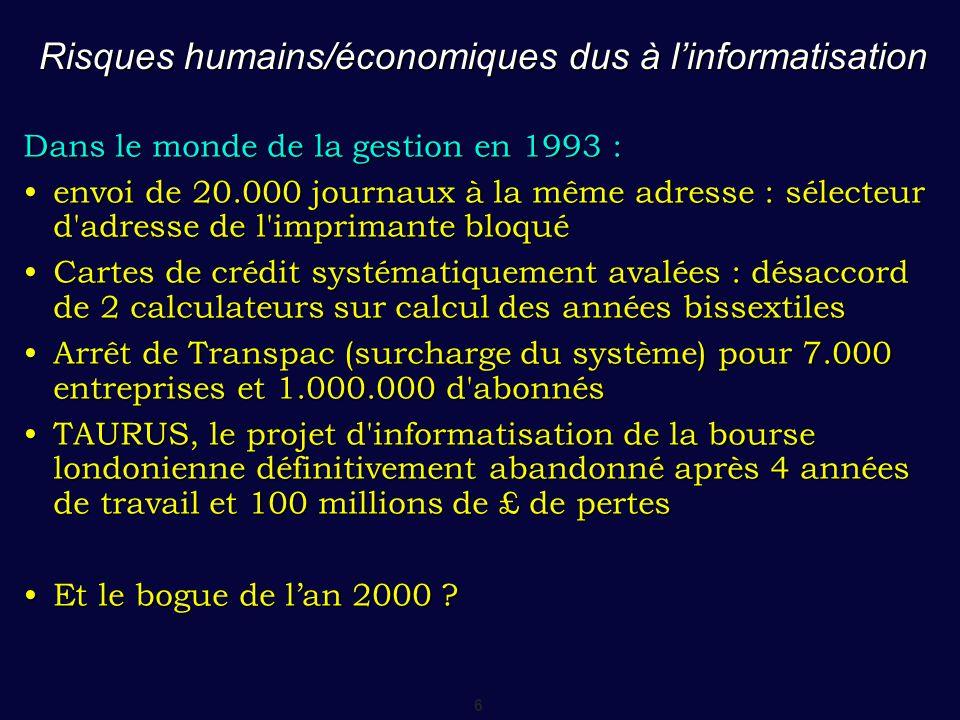 6 Risques humains/économiques dus à l'informatisation Dans le monde de la gestion en 1993 : envoi de 20.000 journaux à la même adresse : sélecteur d'a