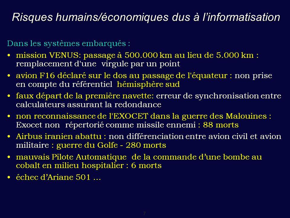 7 Risques humains/économiques dus à l'informatisation Dans les systèmes embarqués : mission VENUS: passage à 500.000 km au lieu de 5.000 km : remplace