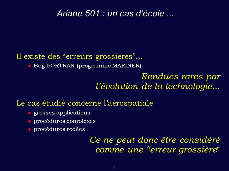 """8 Ariane 501 : un cas d'école... Il existe des """"erreurs grossières""""... Bug FORTRAN (programme MARINER) Bug FORTRAN (programme MARINER) Rendues rares p"""