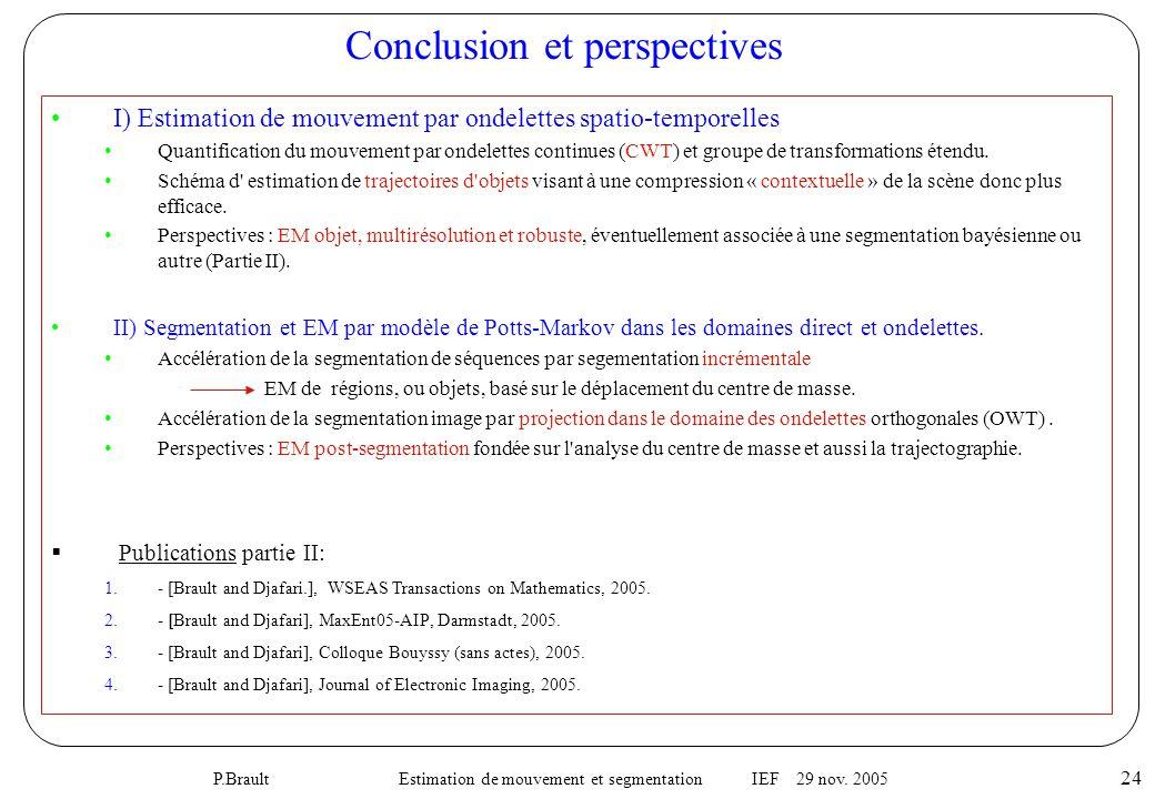 P.Brault Estimation de mouvement et segmentation IEF 29 nov.