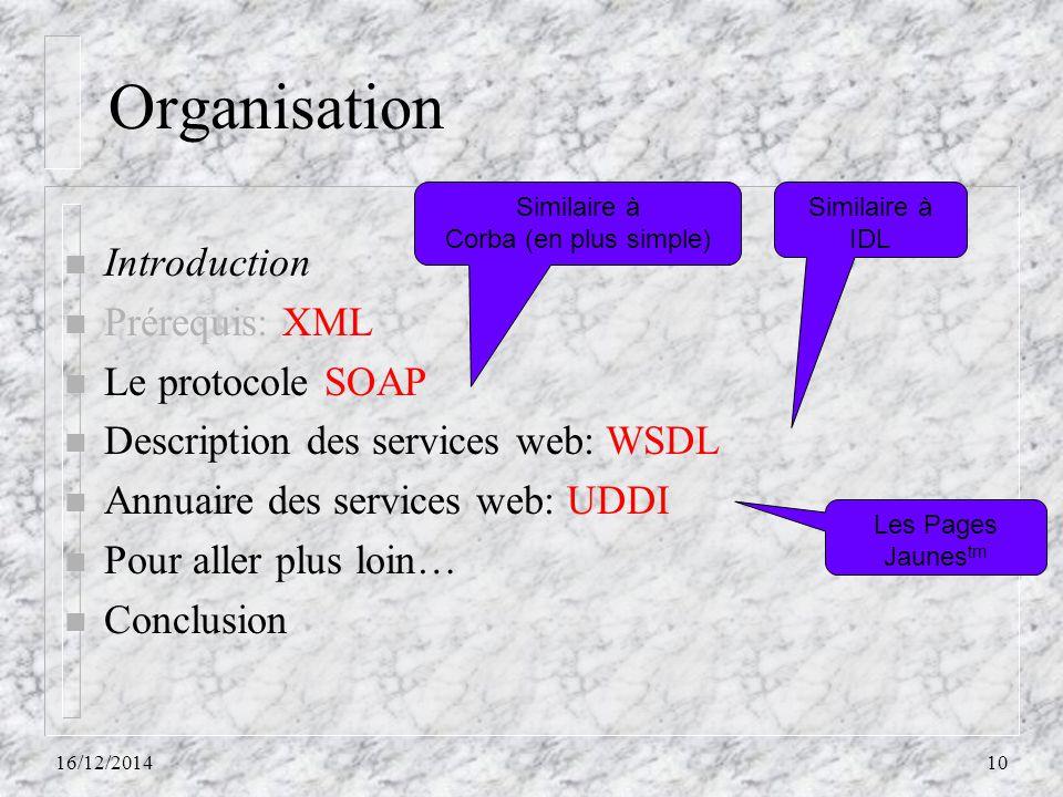 Organisation n Introduction n Prérequis: XML n Le protocole SOAP n Description des services web: WSDL n Annuaire des services web: UDDI n Pour aller p