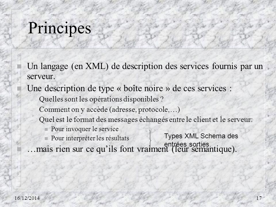 Principes n Un langage (en XML) de description des services fournis par un serveur. n Une description de type « boîte noire » de ces services : – Quel