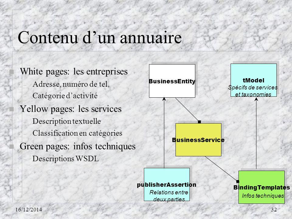 Contenu d'un annuaire n White pages: les entreprises – Adresse, numéro de tel, – Catégorie d'activité n Yellow pages: les services – Description textu