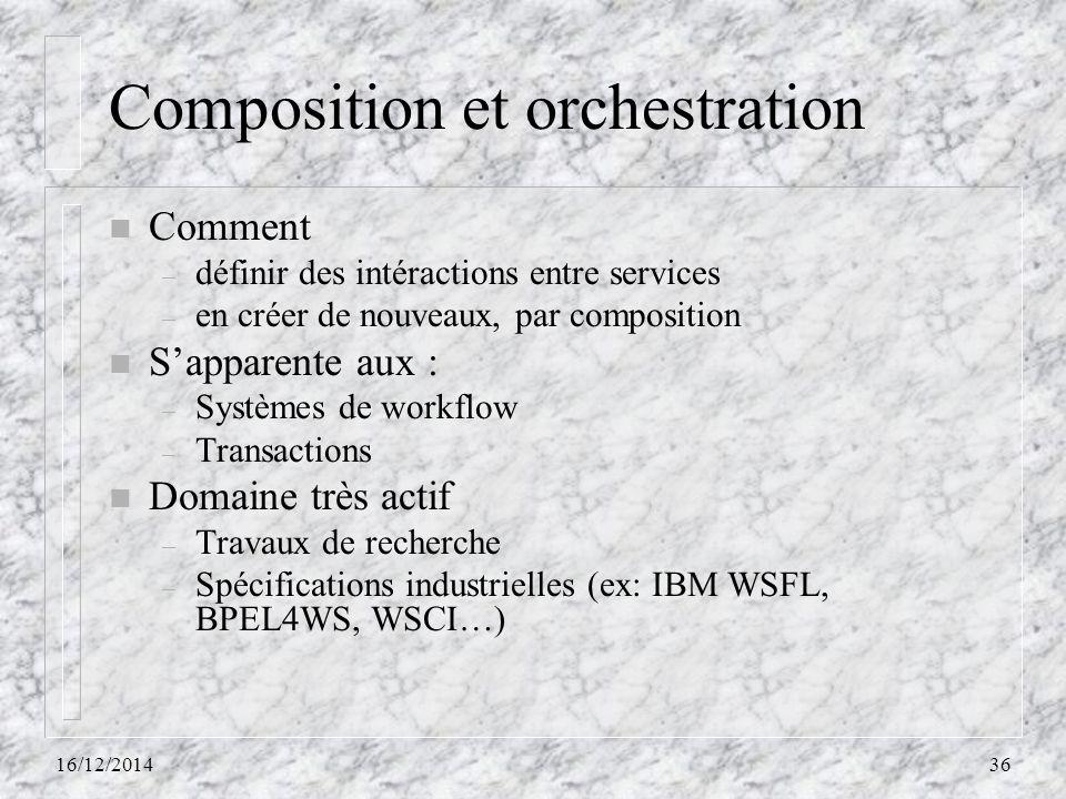Composition et orchestration n Comment – définir des intéractions entre services – en créer de nouveaux, par composition n S'apparente aux : – Système