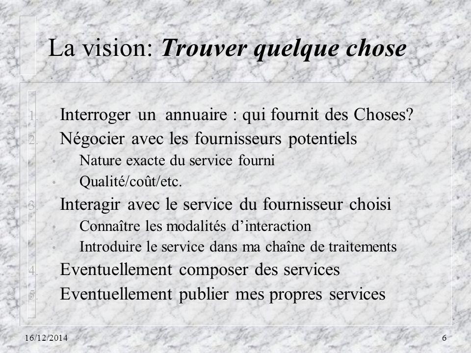 La vision: Trouver quelque chose 1. Interroger un annuaire : qui fournit des Choses? 2. Négocier avec les fournisseurs potentiels Nature exacte du ser