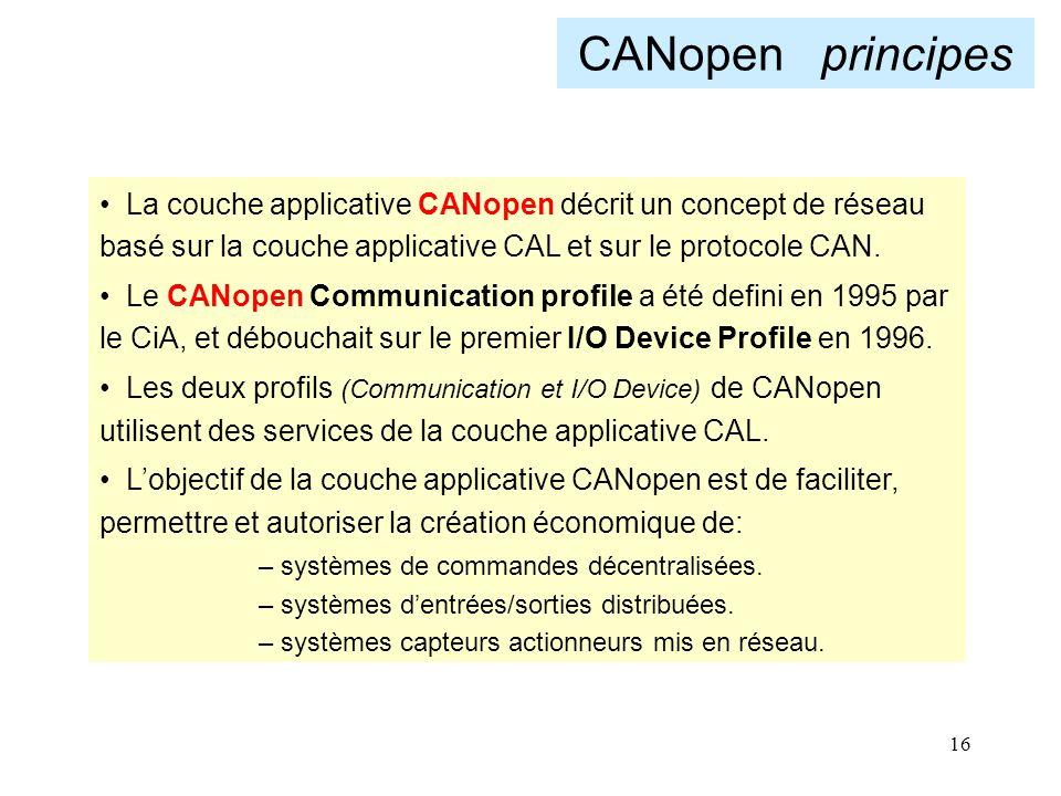16 CANopen principes La couche applicative CANopen décrit un concept de réseau basé sur la couche applicative CAL et sur le protocole CAN. Le CANopen