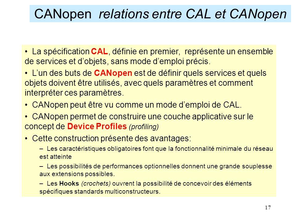17 CANopen relations entre CAL et CANopen La spécification CAL, définie en premier, représente un ensemble de services et d'objets, sans mode d'emploi