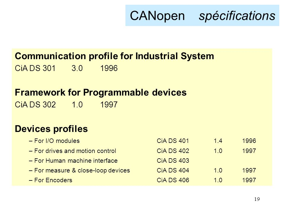 19 CANopen spécifications Communication profile for Industrial System CiA DS 3013.01996 Framework for Programmable devices CiA DS 3021.01997 Devices p
