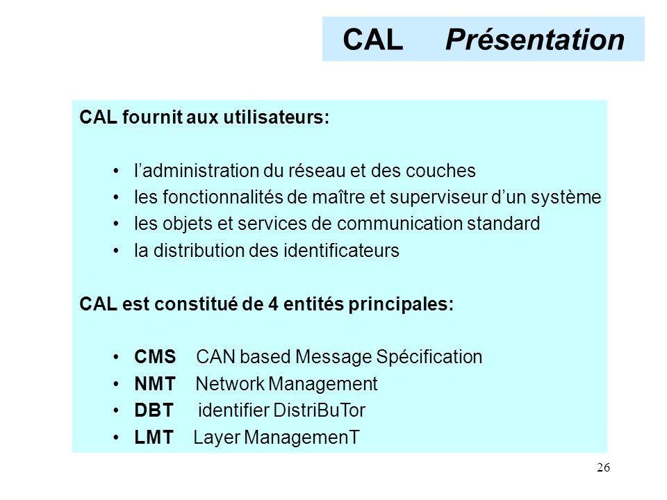 26 CAL Présentation CAL fournit aux utilisateurs: l'administration du réseau et des couches les fonctionnalités de maître et superviseur d'un système