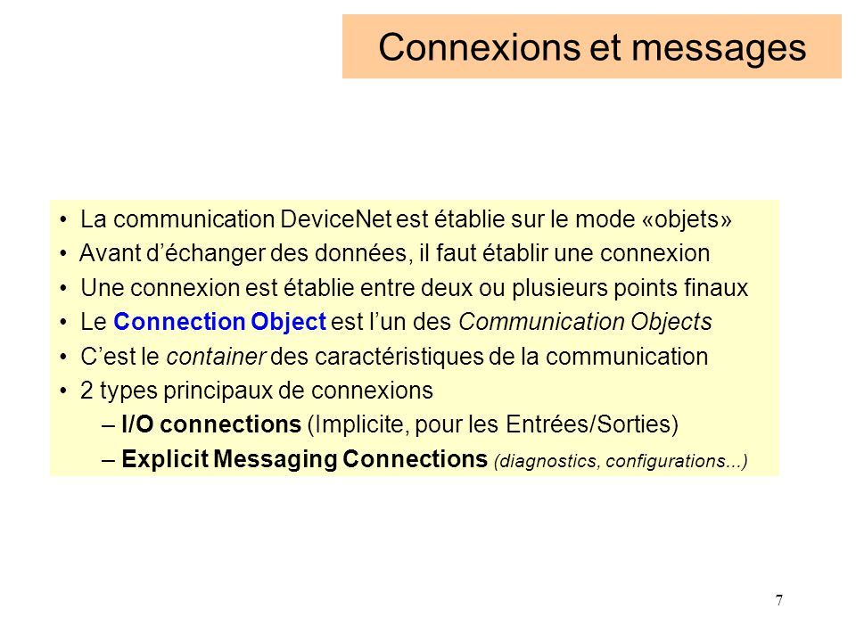 18 CANopen modèle ISO Communication Profile CAL (Can Application Layer) CAN Protocol (Data Link Layer) Physical Layer Device profile A Device profile B Device profile C CANopen CAL CAN ISO 11898 ISO Couche 7 ISO Couche 2 ISO Couche 1 Bus CAN Standard Device «futur proof» ISO Couche 8 ISO Couche 7 CAL CANopen Communication Profile CiA DS 301 CANopen Device Profile CiA DS 401 à 406