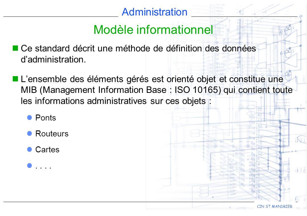 Administration CIN ST MANDRIER Ce standard décrit une méthode de définition des données d'administration.