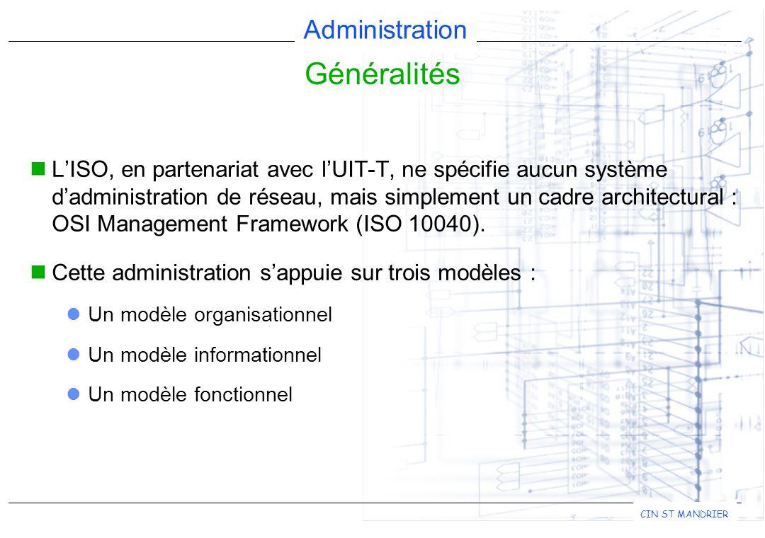Administration CIN ST MANDRIER L'ISO, en partenariat avec l'UIT-T, ne spécifie aucun système d'administration de réseau, mais simplement un cadre architectural : OSI Management Framework (ISO 10040).