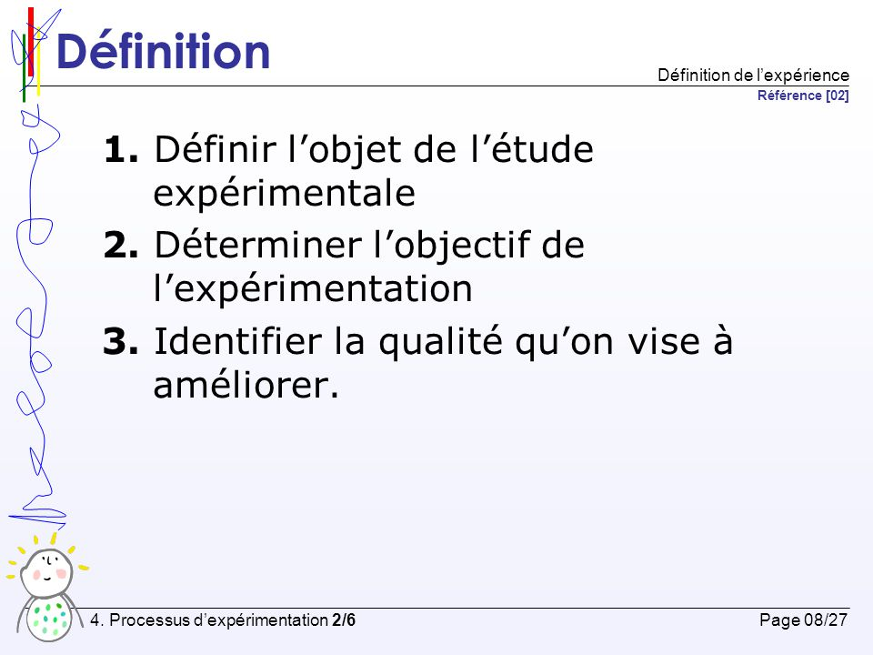 Planification 1.Contexte de l'expérimentation 2. Formulation de l'hypothèse 3.