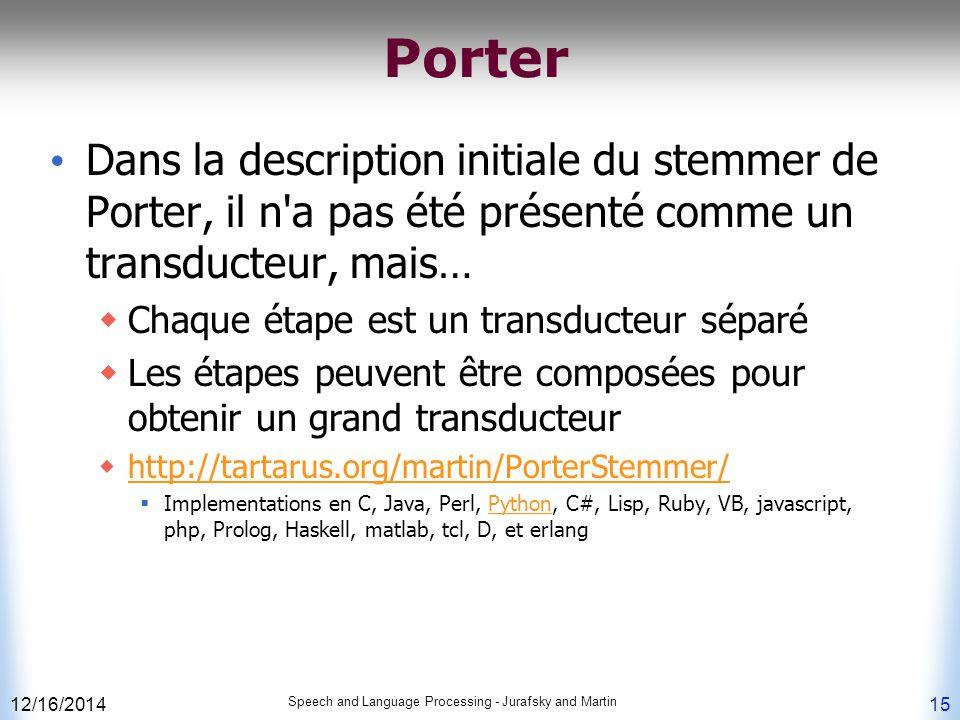 12/16/2014 Speech and Language Processing - Jurafsky and Martin 15 Porter Dans la description initiale du stemmer de Porter, il n'a pas été présenté c