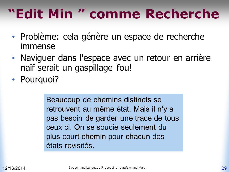 """12/16/2014 Speech and Language Processing - Jurafsky and Martin 29 """"Edit Min """" comme Recherche Problème: cela génère un espace de recherche immense Na"""
